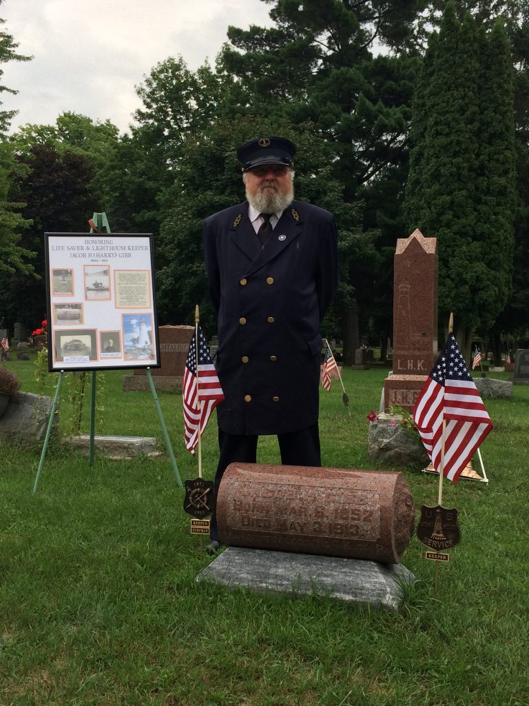 Carl Jahn dressed in an authentic USLHS lighthouse keeper uniform from the 1800s at the Gibb Grave Marker Ceremony on August 27, 2016.